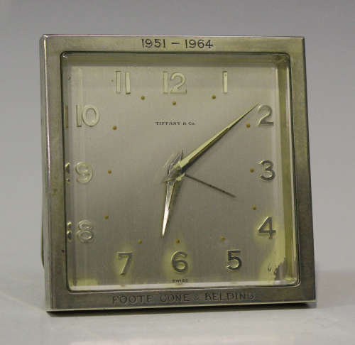 A silver mounted bedside alarm clock, the Swiss jewelled movement with lever escapement, the