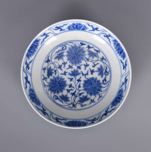 Chinese blue and white porcelain plate, Guangxu mark.