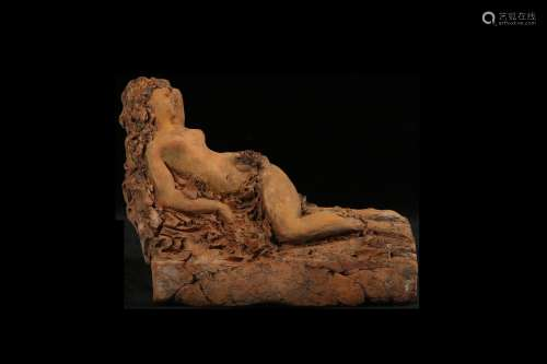 A 19TH CENTURY TERRACOTTA BOZZETTO OF VENUS RECLINING DATED 1877 the nude goddess reclining on a bed