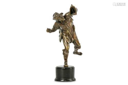 A BRONZE STATUETTE OF A FOWLER, PROBABLY GERMAN FIRST HALF OF THE 17TH CENTURY, AFTER A MODEL BY