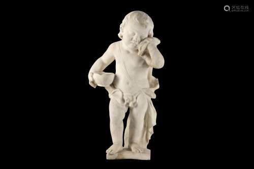 AN 18TH CENTURY ITALIAN CARVED CARRARA MARBLE FIGURE OF A WEEPING PUTTO holding his drapery to his