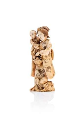 JAPON, XIXe siècleOkimono en ivoire* sculpté re...
