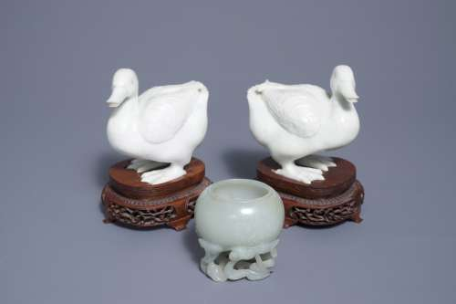 A Chinese celadon jade brush washer and a pair of white jade ducks, 19th and 20th C.
