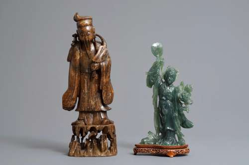 Two tall Chinese carved jade and soapstone figures, 19/20th C.