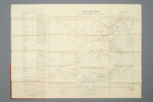 A large map of China, 'shewing railways, telegraphs and treaty ports', English war office, ca. 1911