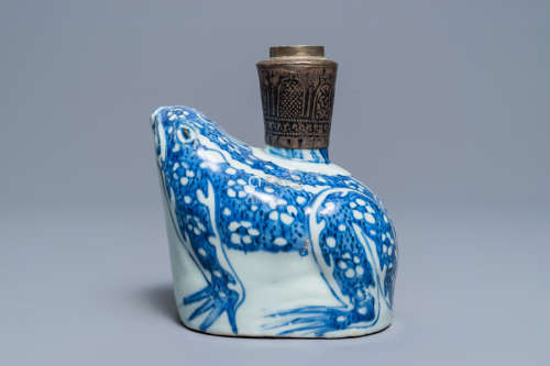 A Chinese blue and white Islamic silver-mounted frog kendi, Wanli