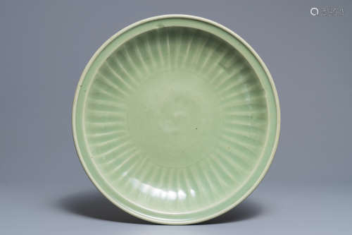 A large Chinese Longquan celadon charger, Ming