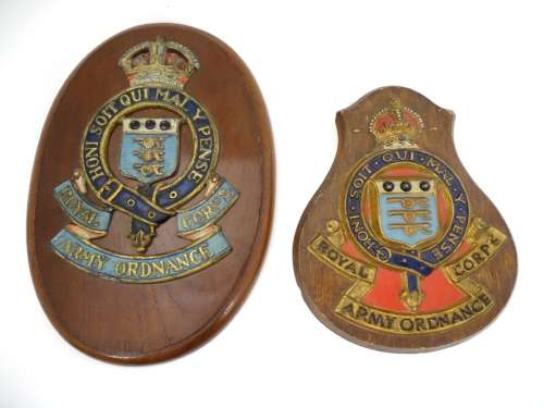 Militaria : A cast and painted Wall Plaque bearing the insignia of the Royal Army Ordnance Corps (