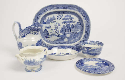 A collection of blue and white ceramics, including four items from Wood & Sons Enoch Woods Castle