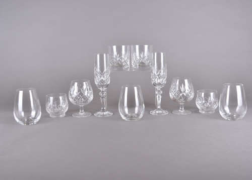 A set of six Dartington ovoid water glasses, together with a part Stuart crystal cut glass suite
