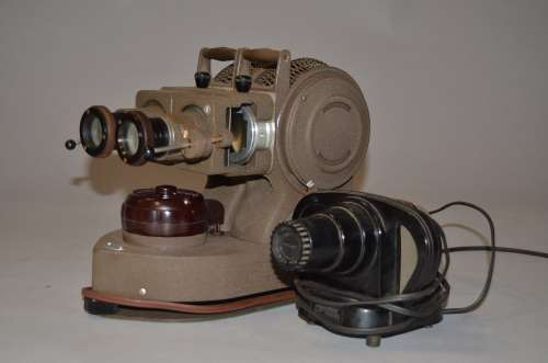 A Jules Richard Stereo Slide Projector, twin lens, twin lamp projector, slide carrier apparently
