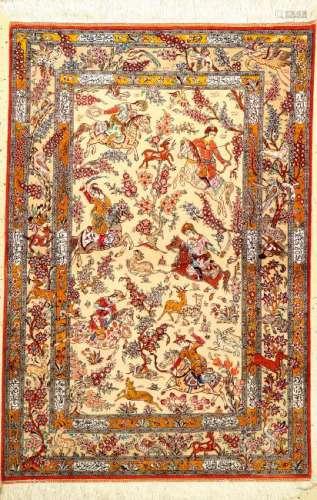 Fine Silk Qum Rug (The Hunting),