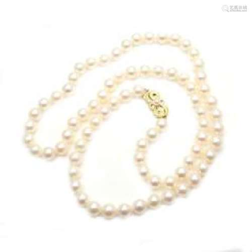 Mikimoto 18k Yellow Gold 7mm to 6.5mm Pearl Necklace