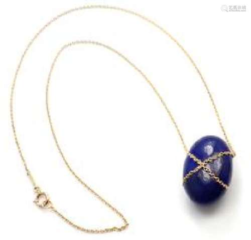 Tiffany & Co 18k Yellow Gold Large Lapis Lazuli