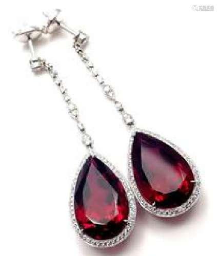 Tiffany & Co Platinum Diamond Rubellite Drop Earrings
