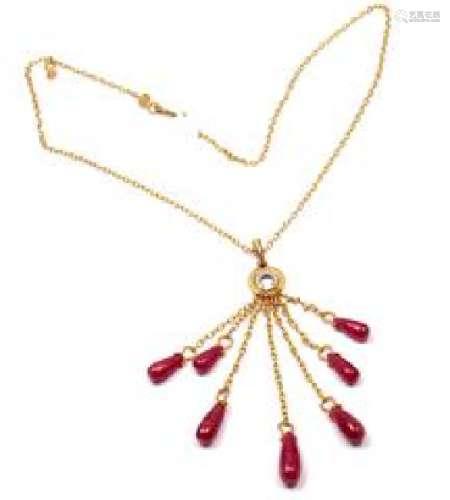 Gurhan 24k Yellow Gold Ruby Drop Necklace