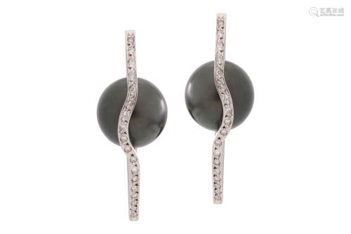 A pair of cultured pearl and diamond earrings, by Kim Poor