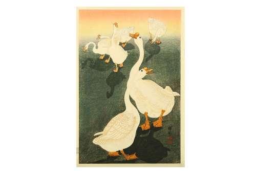 OHARA KOSON (1877 - 1945). A woodblock print, oban tate-e, a gaggle of six geese, signed Shoson,
