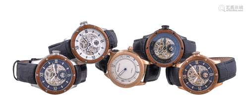 A collection of five Heritor wrist watches