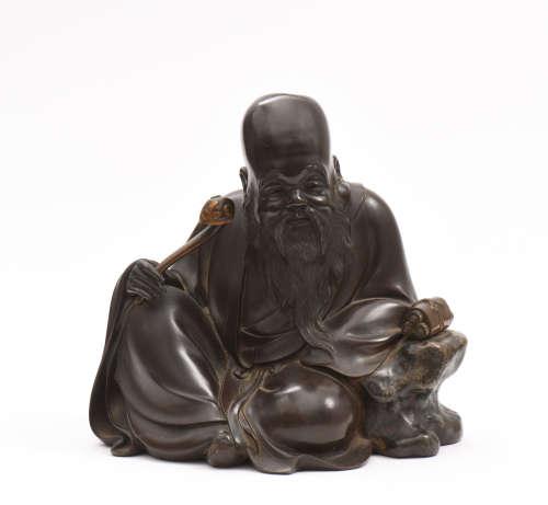 JAPON, XIXe siècle  Sculpture de Jurojin en bronze