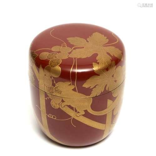 Boîte à thé laquée marron rouge (natsume) à motif …