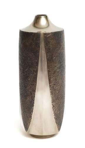 """Exceptionnel vase en """"bronze blanc""""alternant les s…"""
