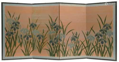Paravent à quatre panneaux signé (byobu), peint à …