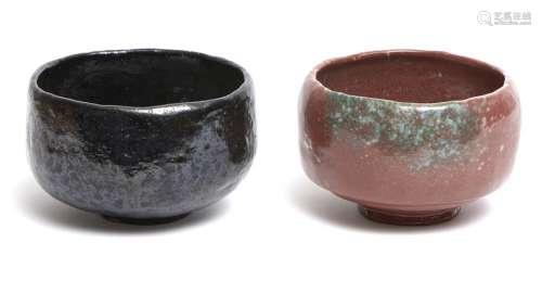 Lot de deux bols à thé de style raku (chawan) dans…
