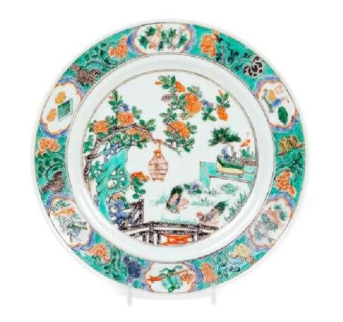 * A Famille Verte Porcelain Plate Diameter 8 7/8