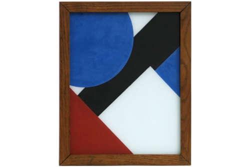 H H achterglasschildering met een constructiistische compositie - 29 x 23 op verso [...]