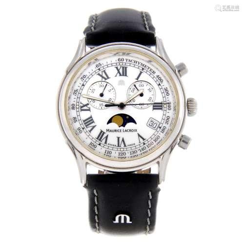 MAURICE LACROIX - a gentleman's Les Classiques moonphase chronograph wrist watch.
