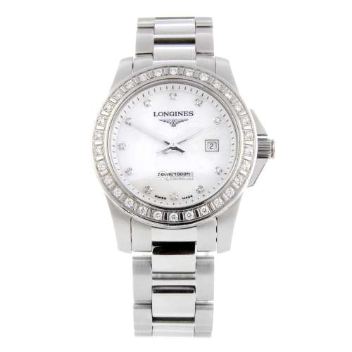 LONGINES - a lady's Conquest bracelet watch.