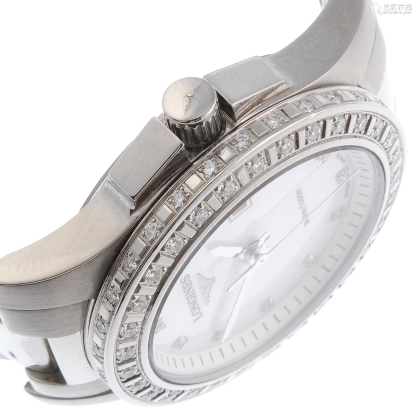 LONGINES - a lady's Conquest bracelet watch.