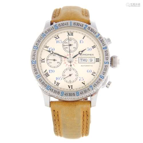 LONGINES - a gentleman's Lindbergh Hour Angle chronograph wrist watch.