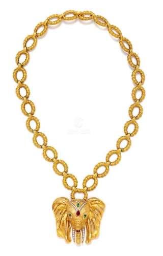 * An 18 Karat Yellow Gold, Diamond, Emerald and Ruby