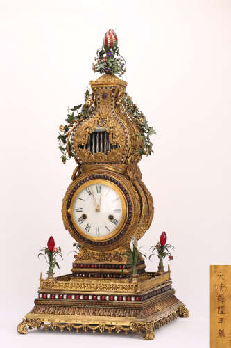 A Chinese Gilt Bronze Clock