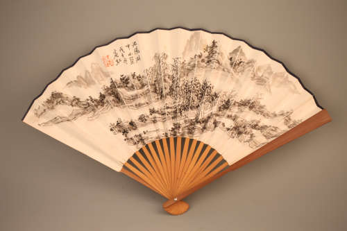 A Chinese Painting on Folding Fan
