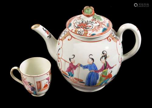 A Worcester polychrome Chinoiserie globular teapot and cover painted with Chinese figures, circa