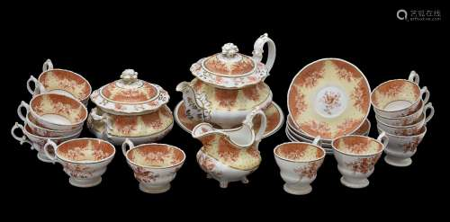 A Ridgway porcelain 'Rococo revival' part tea service, circa 1840, printed in iron-red with birds