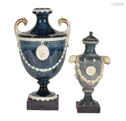 Two various variegated porphyry creamware vases, various dates 1770-80, the larger Neale & Co., 26cm