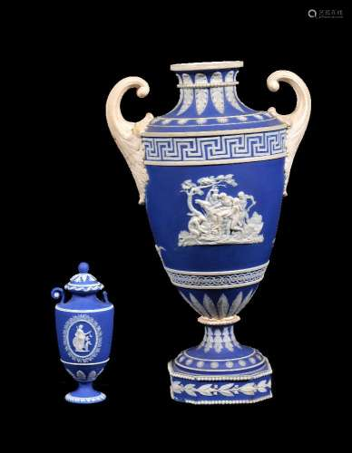 A Turner blue-dip jasper two-handled urn, circa 1800, sprigged in white with classical scenes