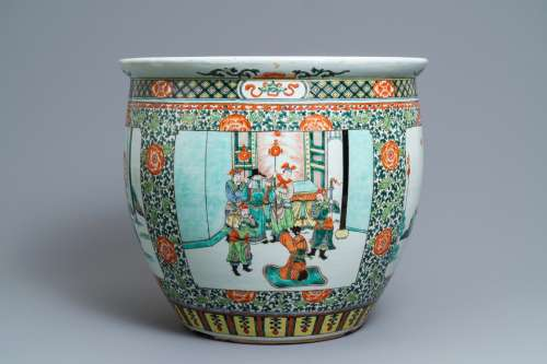 A Chinese famille verte fish bowl, 19th C.