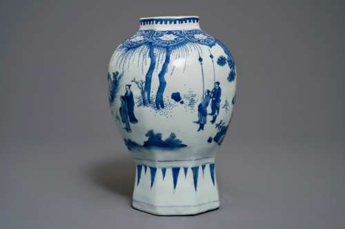 A Chinese blue and white baluster vase with figural design, Transitional period