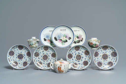Seven Chinese famille rose and doucai plates, two covered bowls and a 'Wu Shuang Pu' teapot, 19/20th C.