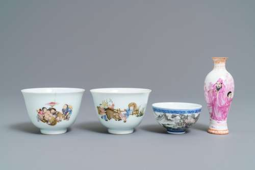 Four Chinese famille rose and grisaille eggshell wares, 20th C.
