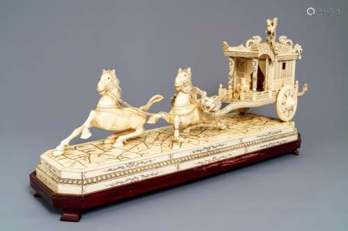 An exceptionally large Chinese carved ivory 'horse carriage' group, 19/20th C.