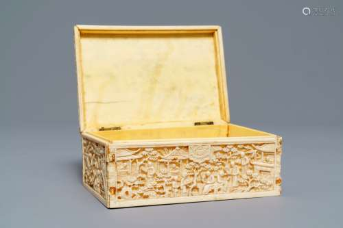 A rectangular Chinese carved ivory casket, Canton, 19th C.