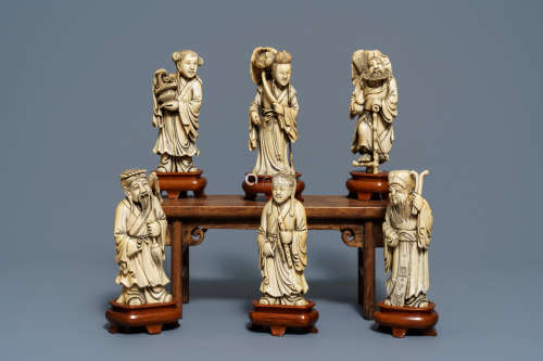 Six Chinese carved ivory figures of immortals, 19th C.