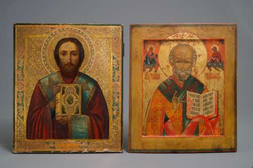Two large Russian icons: 'Saint Nicholas of Myra' and 'Saint Paul', 18/19th C.