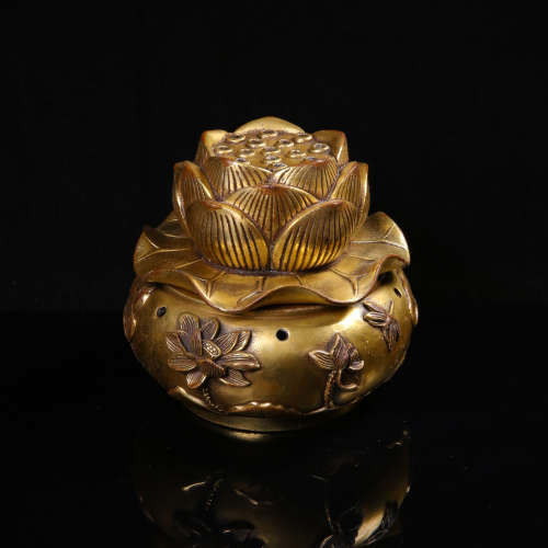 A Chinese Gilt Bronze Incense Burner with Cover
